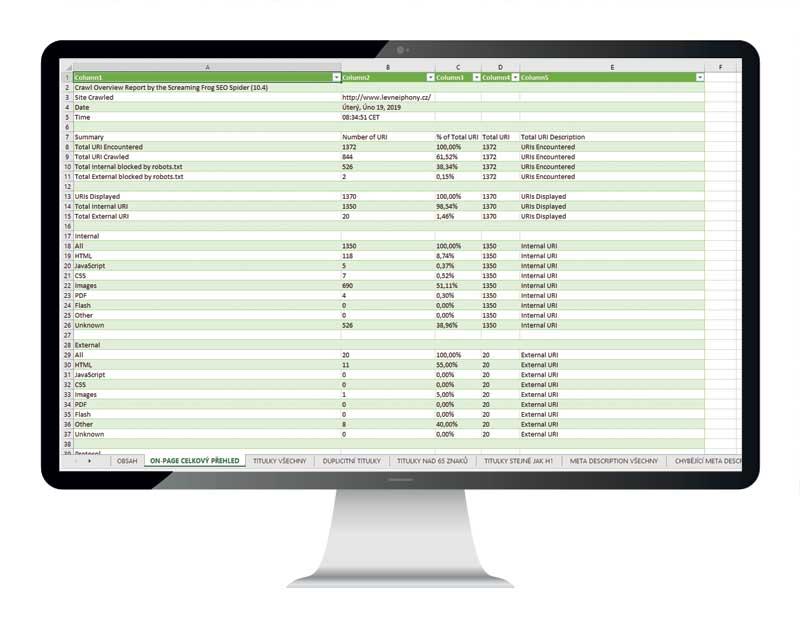 Ukázka souhrnného přehledu on-page faktorů na vašem internetovém projektu.