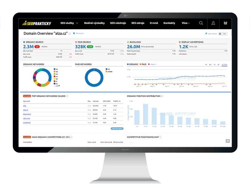 Přehledně vizualizované základní informace o analyzované doméně