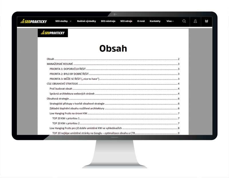 Ukázka obsahu obsahové strategie.
