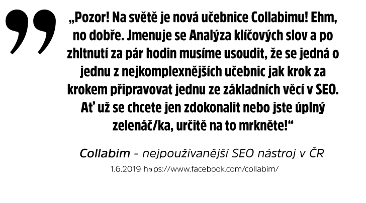 Reference na e-knihu Analýza klíčových slov - Collabim